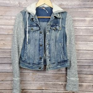 Free People Womens Hooded Denim Jacket Knit Small
